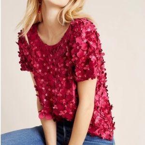 NWT Anthropologie VarunBahl floral appliqué blouse